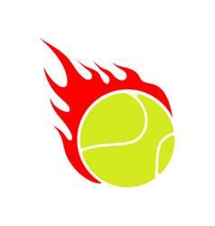 fire tennis flame ball emblem game sport team vector image