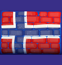flag of norway painted on brickwall vector image