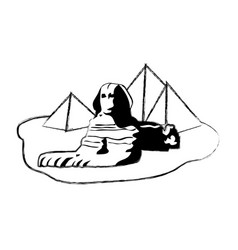 Grunge famous giza egypt sculpture pyramids vector