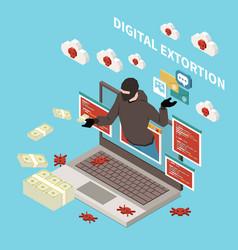 Hacker fishing digital crime isometric concept vector