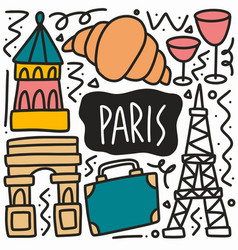 hand drawn doodle paris holiday vector image