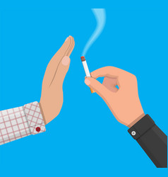hand gives cigarette to other hand vector image