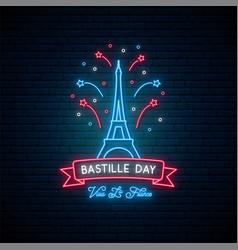 Happy bastille day 14 july vive la france neon vector
