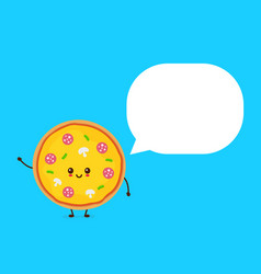 happy smilling cute pizza with speech bubble vector image