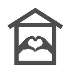 Heart from hand and home icon stay home staying vector
