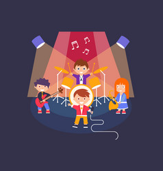 Kids playing different musical instruments and vector