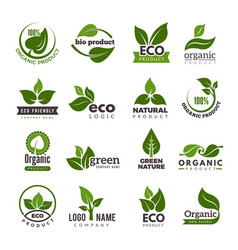 leaf logo bio nature green eco symbols vector image