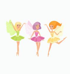 magic fairies flat set cute vector image