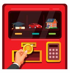 man buy in vending machine use bitcoin vector image