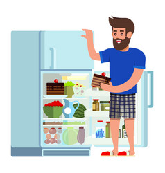 man stands fridge chooses food vector image