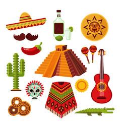 Mexico icons set vector