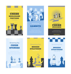 modern trendy story templates for chess streaming vector image