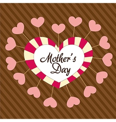 Mothers day heart over background of brown lines vector