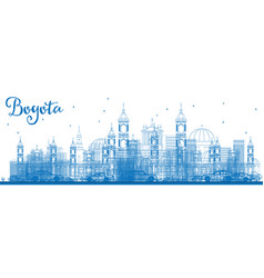 Outline bogota skyline with blue buildings vector