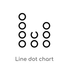 Outline line dot chart icon isolated black simple vector