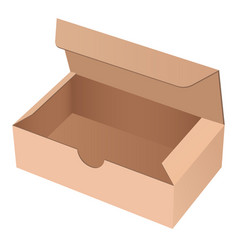 paper cardboard box template open brown empty vector image