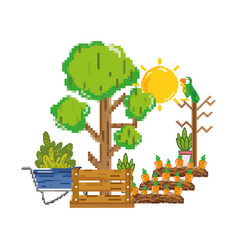 Pixelated carrots cultivated and tree farm vector