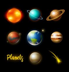 planets in solar system astronomical galaxy vector image
