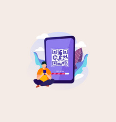 qr code scan with character design flat il vector image