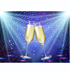 Realistic of champagne glasses on blue background vector