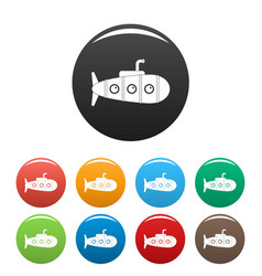 Retro submarine icons set color vector