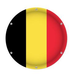 Round metallic flag of belgium with screws vector