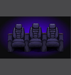 Row with three cinema chairs recliners vector