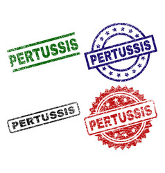 Scratched textured pertussis seal stamps vector