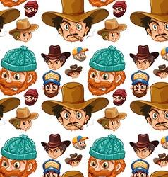 Seamless head of cowboys and lumberjacks vector