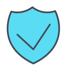 Security shield pixel perfect thin line icon 48x48 vector