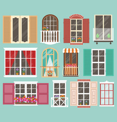 set colorful windows with windowsills curtains vector image