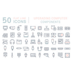 set line icons upgrading computer components vector image