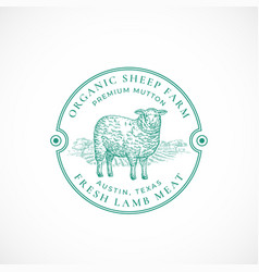 sheep farm framed retro badge or logo template vector image