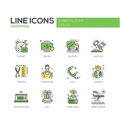 Shopping - line design icons set vector
