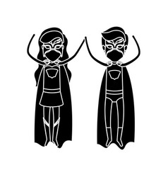 Silhouette black front view superhero couple vector