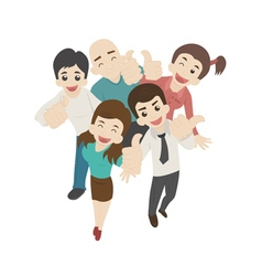 Smiling male man and woman thump up eps10 vector