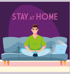 Stay at home awareness social media campaign and vector