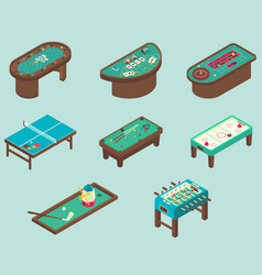 table game flat isometric icon set vector image