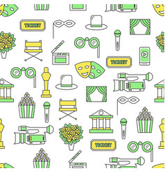 thin line art actors seamless pattern vector image