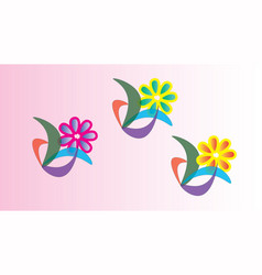 Three abstract flowers vector