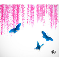 three big blue butterflies and pink wisteria vector image