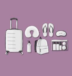 travel set mockup sketch for your design vector image