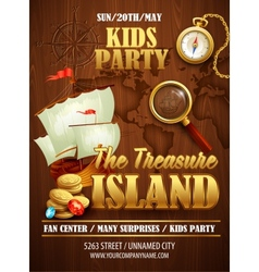 Treasure Island party flyer template vector image
