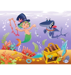 Triton with shark with background vector