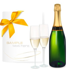 two glasses champagne vector image