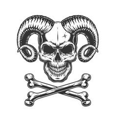 Vintage monochrome devil skull vector