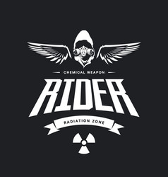 Vintage toxic rider in gas mask logo vector