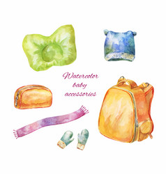 Watercolor hand-drawn icons of baby accessories vector