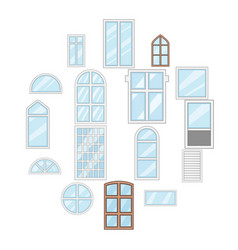 window design types icons set cartoon style vector image