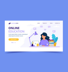 woman with laptop landing page education or vector image